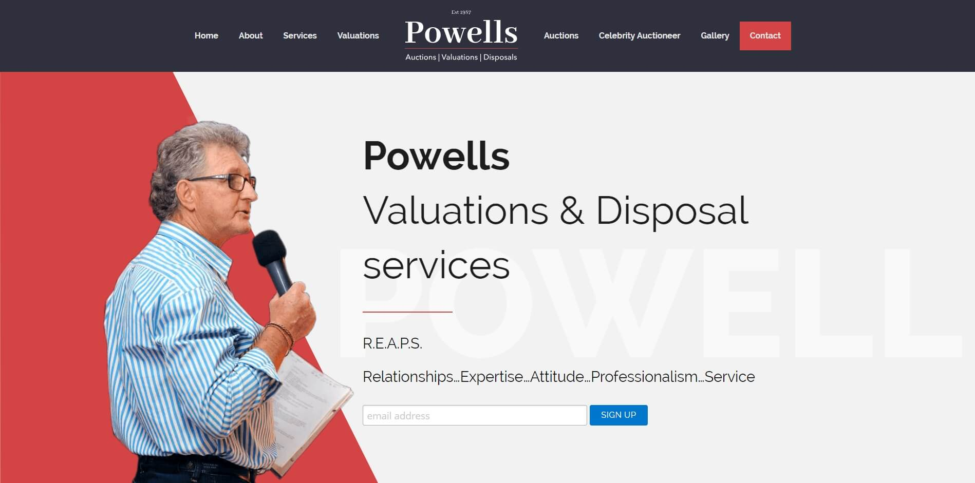 Powell Website landing page