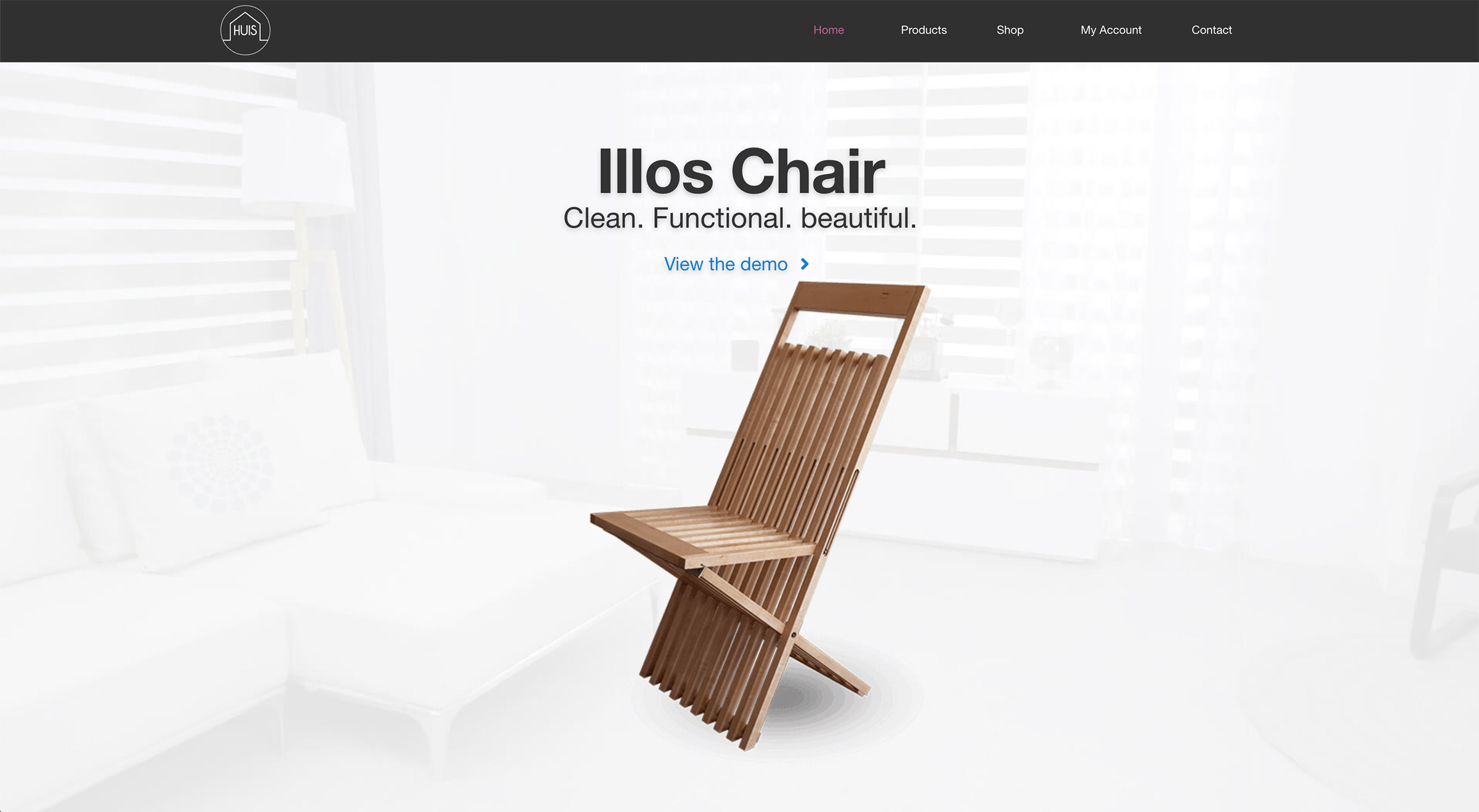 Picture of a wooden chair for Huis home page